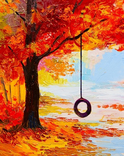 Paint nite autumn swing for Fall paintings easy