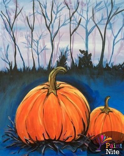 Paint Nite Pumpkins At Night