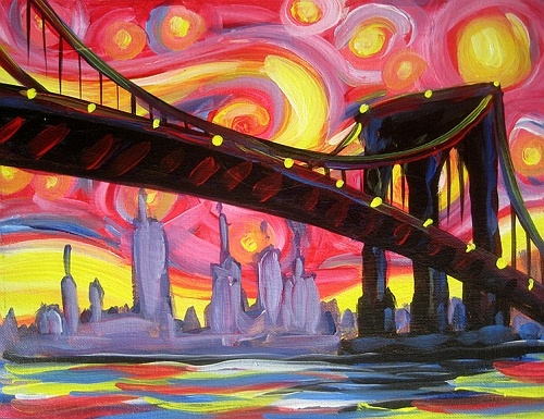 paint nite psychedelic brooklyn bridge