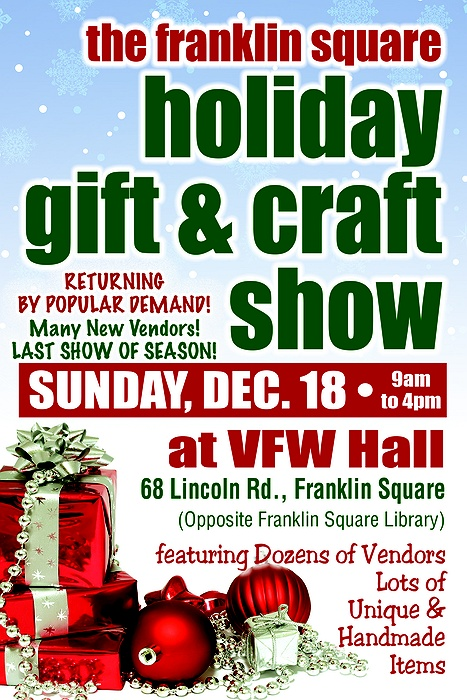 Franklin square holiday craft gift show for Vendors wanted for craft shows 2017