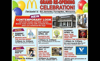 Free Hotcakes & Coffee for Veterans - McDonald's Mineola Grand Re-Opening Celebration